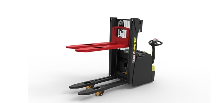 New Hyster stacker built for loading plates and double pallets.